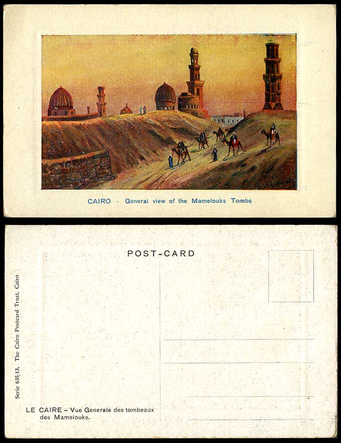 Egypt J.A. Midiads Old ART Postcard Cairo General View of Mamelouks Tombs Camels