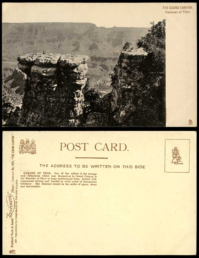 USA Old Postcard Hammer of Thor The Grand Canyon National Park Tuck's Silverette