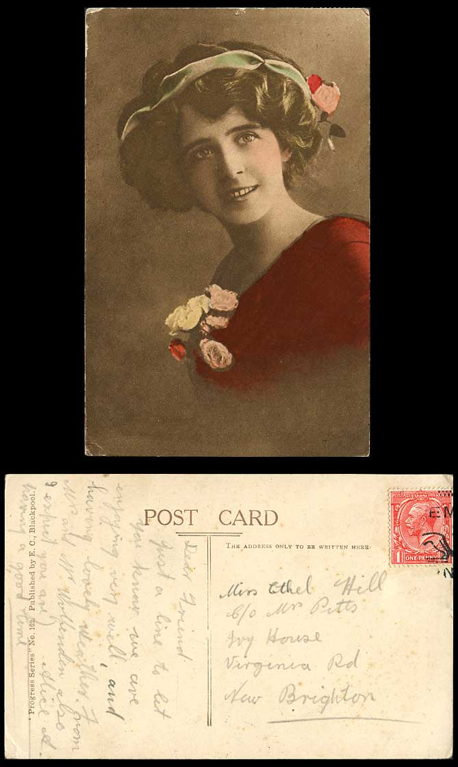 Glamour Lady Glamorous Woman with Smile, Flowers Old Hand Tinted Colour Postcard