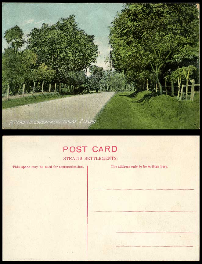 LABUAN Brunei Old Postcard Road to Government House, Malaysian Federal Territory