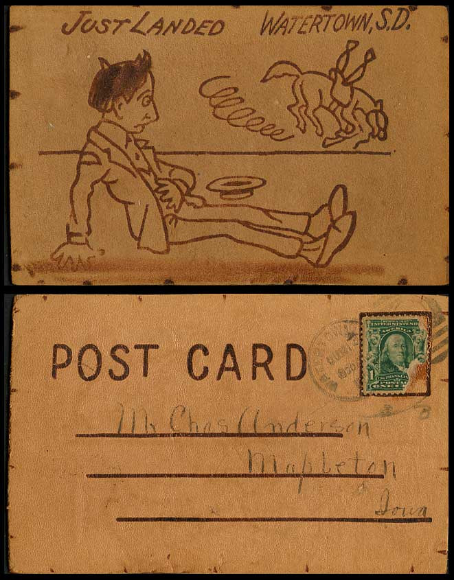 Novelty Hand Made from Leather 1906 Old Postcard Just Landed Watertown SD, Horse