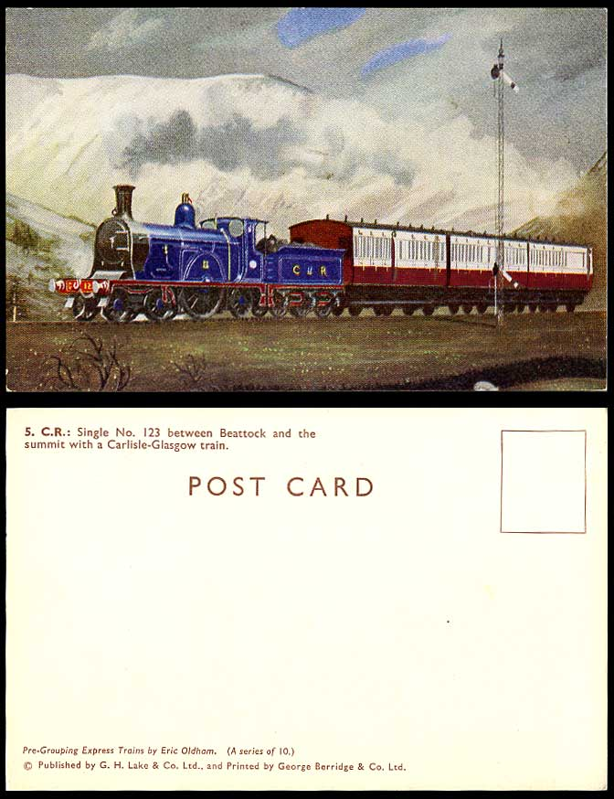 Beattock & Summit Carlisle-Glasgow Train Locomotive Engine No. 123 Old Postcard