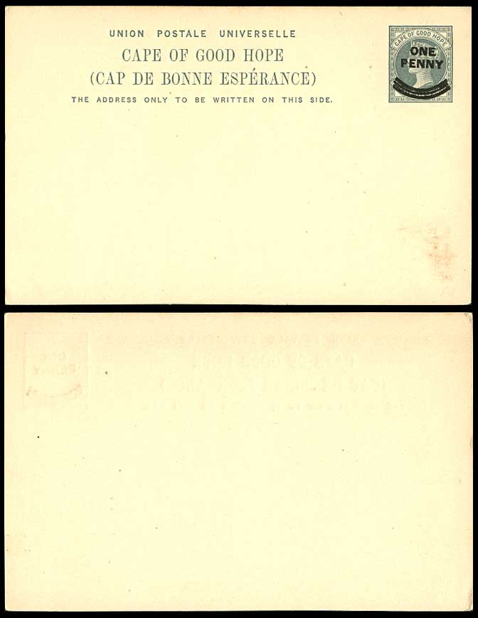Cape of Good Hope Queen Victoria One Penny Overprinted Postal Stationery Card PS