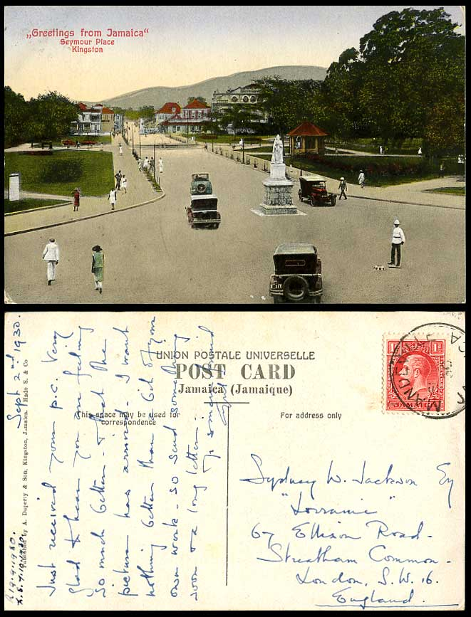 Jamaica 1930 old colour postcard seymour place street for West motor company kingston