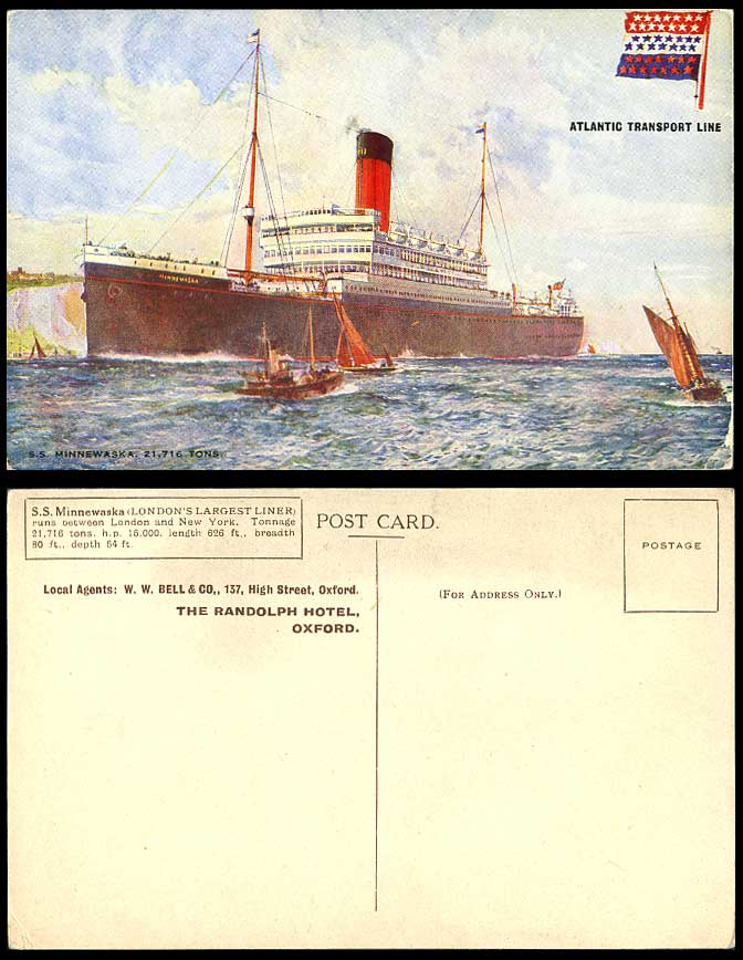 Atlantic Transport Line S.S. Minnewaska Steam Ship Steamer Boat Old ART Postcard