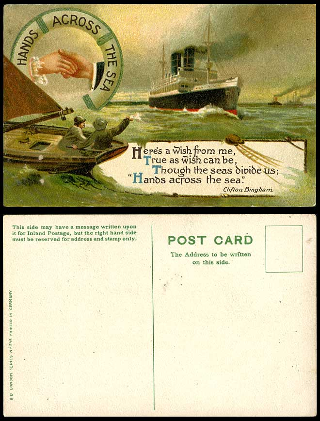 Hands Across The Sea, Steamer Steam Ship Liner & Lifeboat Life Boat Old Postcard