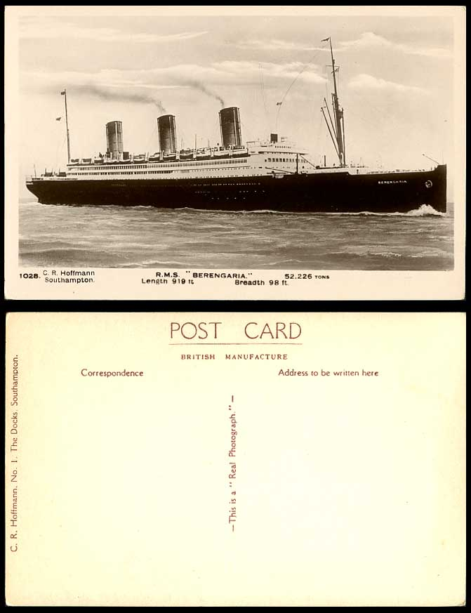 R.M.S. BERENGARIA Royal Mail Steamer, Steam Ship, Cruise Liner Old R.P. Postcard