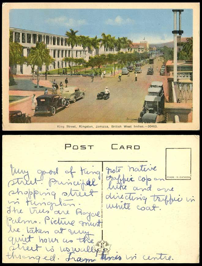 Jamaica old postcard kingston king street scene vintage for West motor company kingston