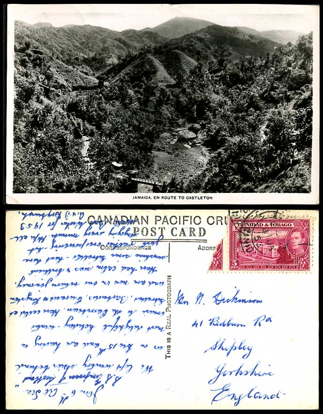Jamaica En Route to Castleton Bridge Trinidad & Tobago KG6. 5c 1953 Old Postcard