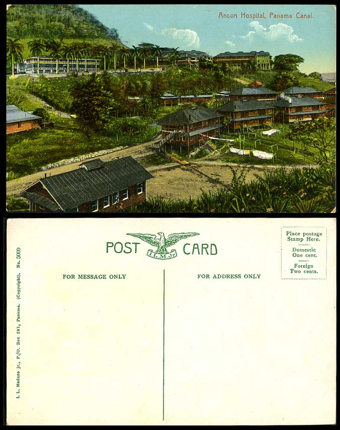 Panama Canal ANCON HOSPITAL Panorama General View Palm Trees Old Colour Postcard