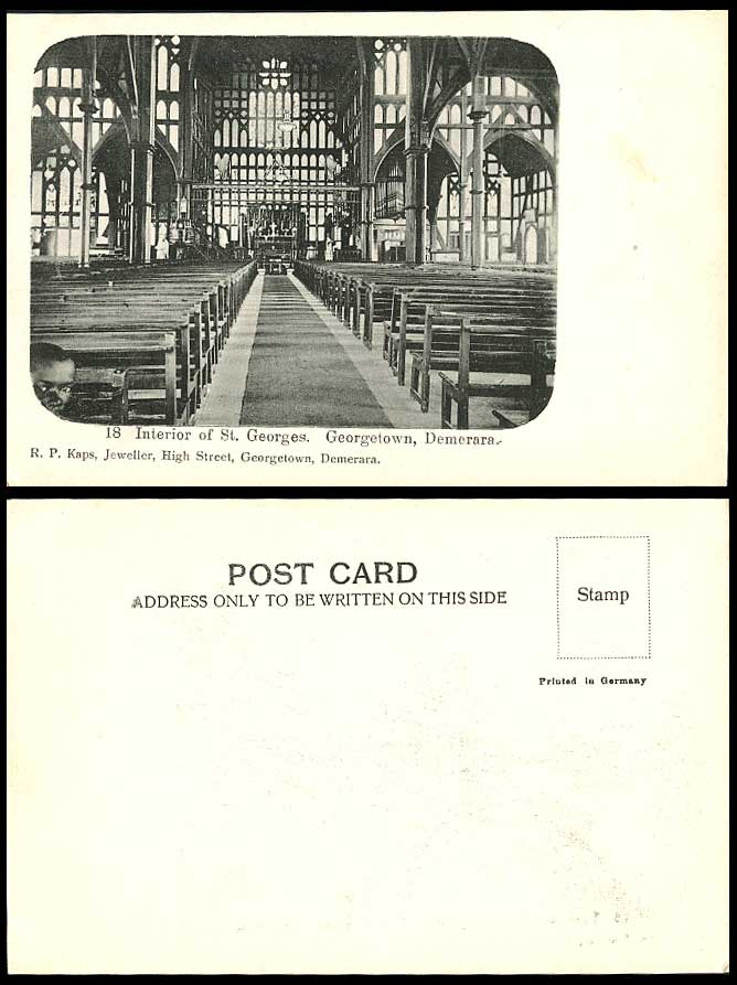 British Guiana Demerara Georgetown, St. Georges Cathedral Church Old UB Postcard
