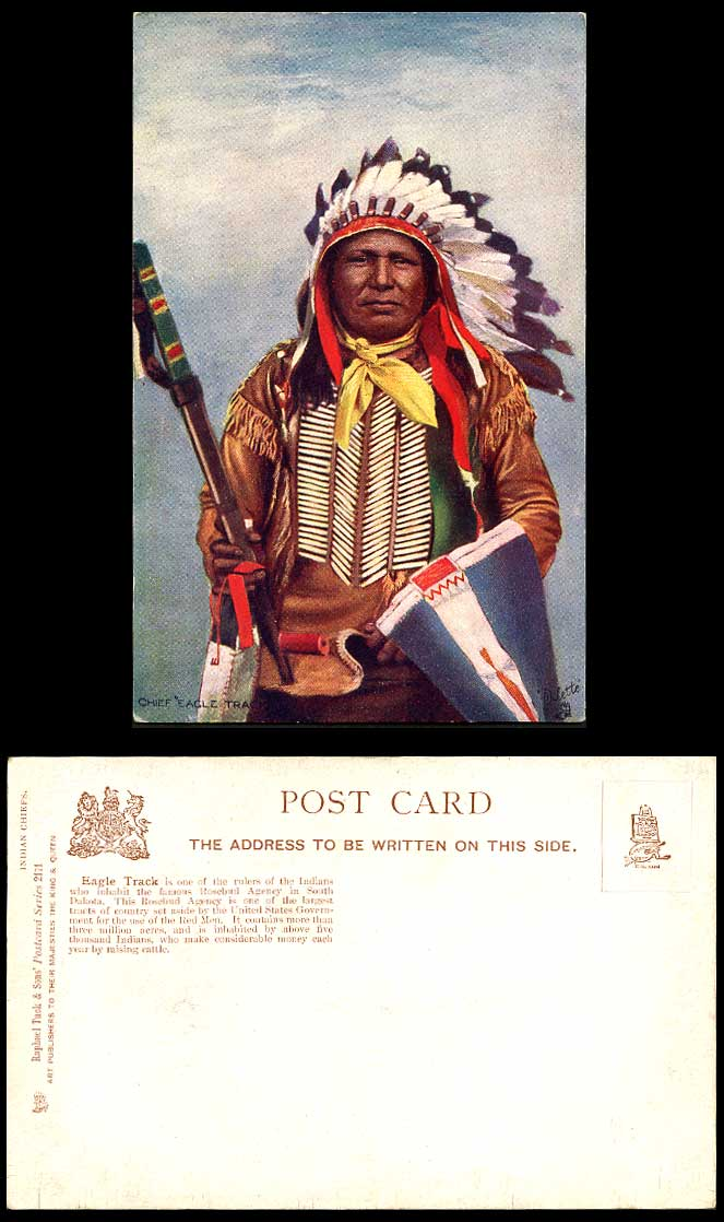 Native American Red Indian Chief Eagle Track, Rosebud Agency Old Tuck's Postcard