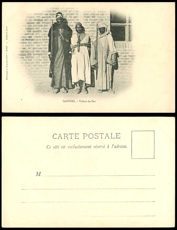 Egypt Old Postcard Gaffirs Voleur de Fer Iron Thief Rogue Arrested Native Police