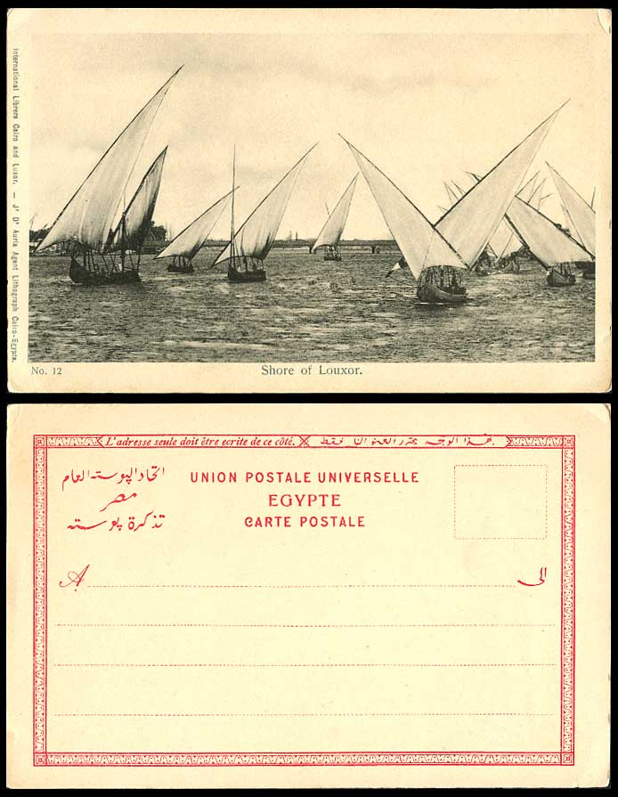 Egypt-Old-UB-Postcard-Luxor-Shore-of-Louxor-Bridge-Native-Sailing-Boats-Vessels
