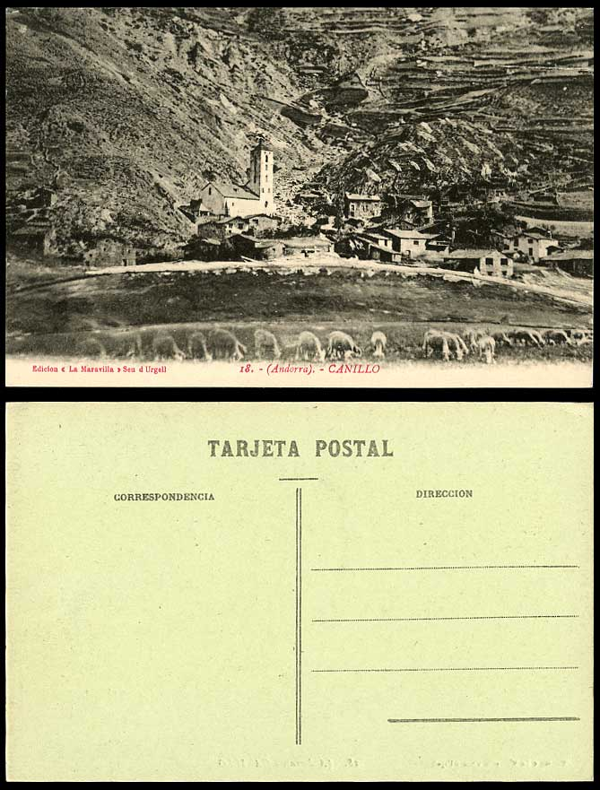 Andorra c.1930 Old Postcard Canillo Sheep Grazing Church Tower Mountain Panorama