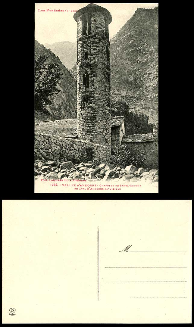 Andorra Old Postcard Capella de Santa Coloma Chapel Church Round Tower Mountains