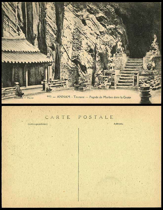 Indo-China Old Postcard Annam Tourane Temple Pagoda in Marble Cave Statue Grotto