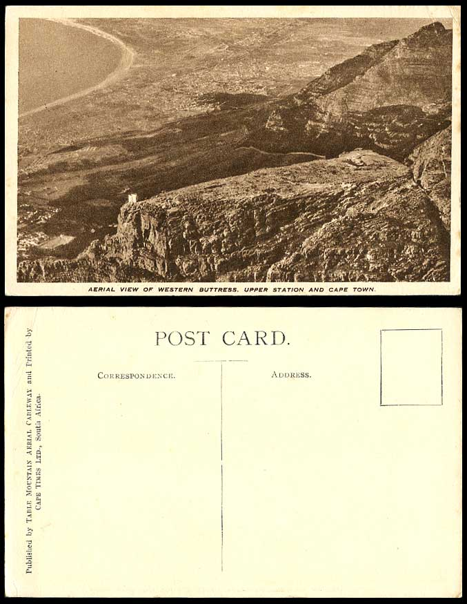 South Africa Old Postcard Aerial View Western Buttress Upper Station & Cape Town