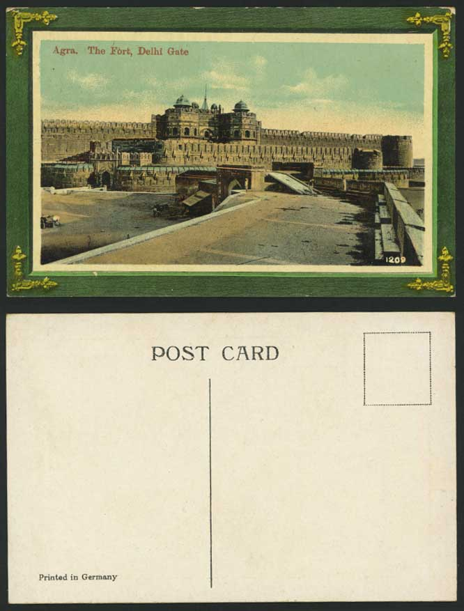 India Brit Old Postcard The Fort Delhi Gate Agra