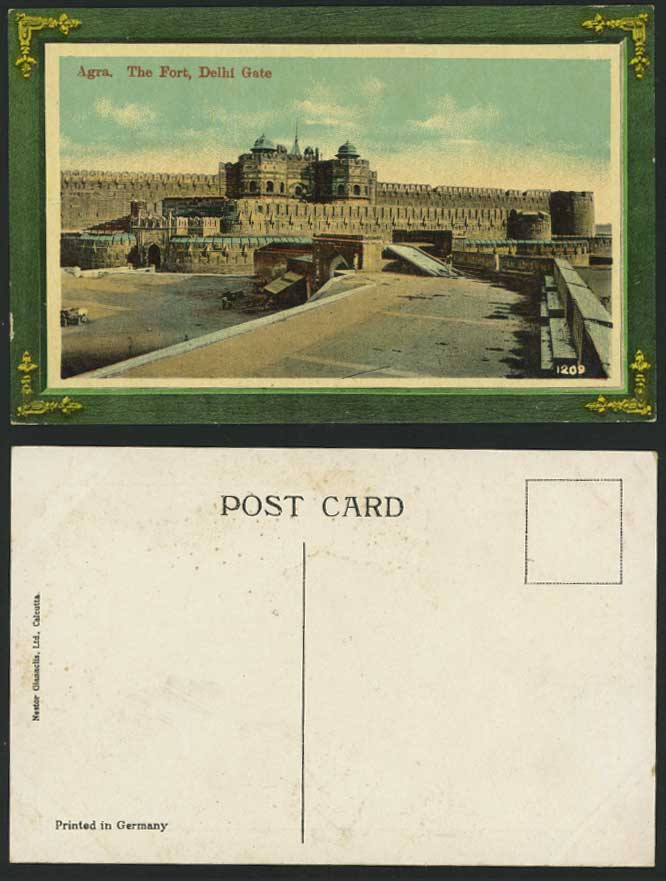 India Brit Old Colour Postcard The Fort Delhi Gate Agra