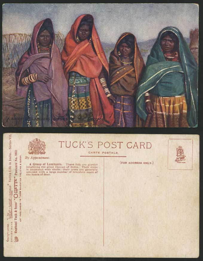 India Old Tuck's Oilette Postcard A Group of LAMBANIS Gypsies Gypsy Women