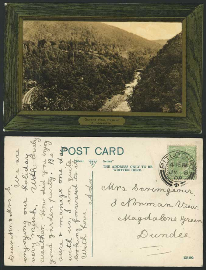 PASS of KILLIECRANKIE Queens View KE7 1908 Old Postcard