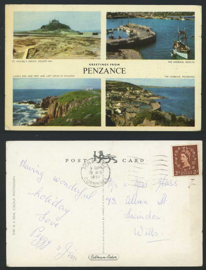 Penzance 1957 Postcard Newlyn Harbour Mousehole & Boats