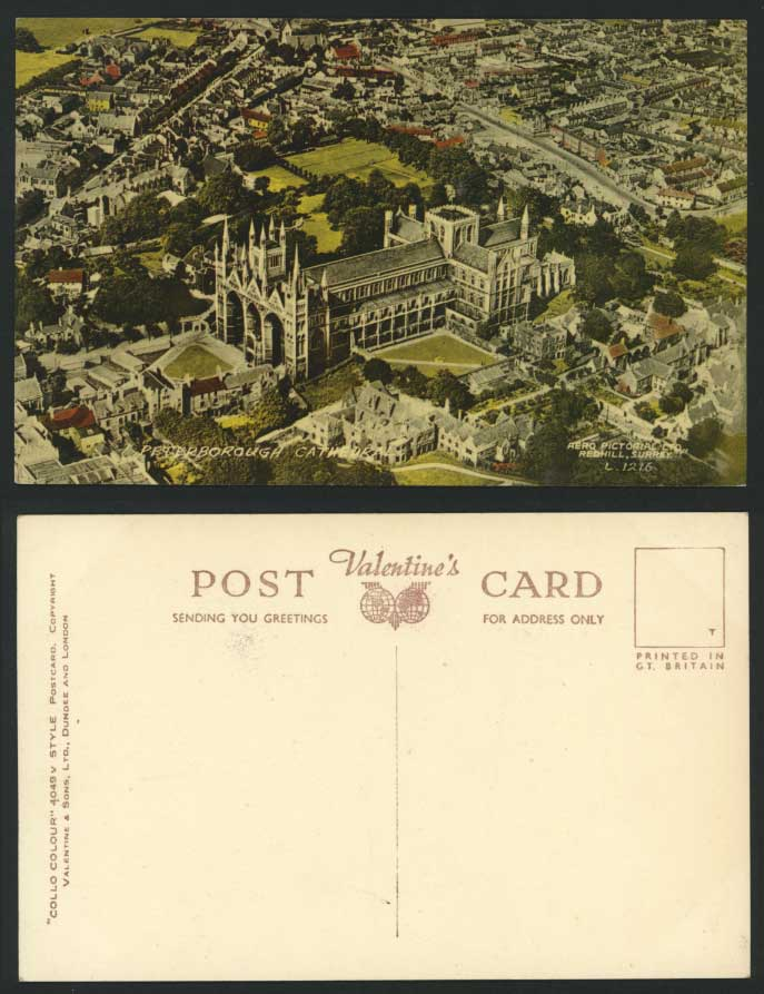 Peterborough Cathedral, Aerial View Old Colour Postcard