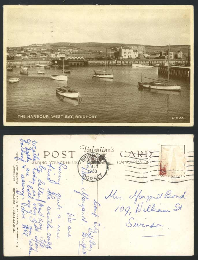 Bridport Dorset 1953 Old Postcard West Bay The Harbour Panorama Boats Pier & Car