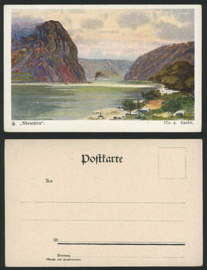Rheinferie Lurlei, Rhine River Ferry Lorelei Artist Signed Old U.B. ART Postcard