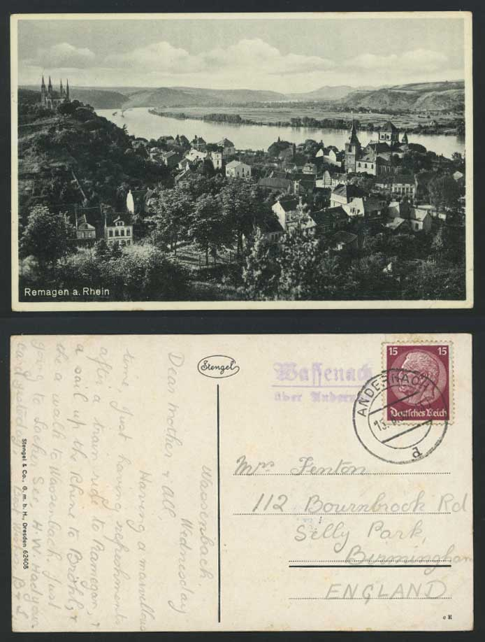 Germany Remagen a Rhein 15pf 1935 Old Postcard River Scene Panorama General View
