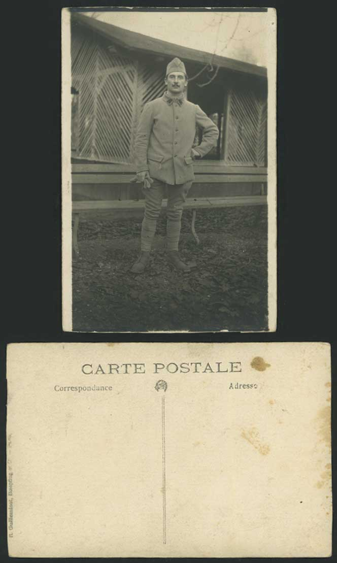 ... Soldier, Military Uniform, with Gloves Old Real Photo Postcard France