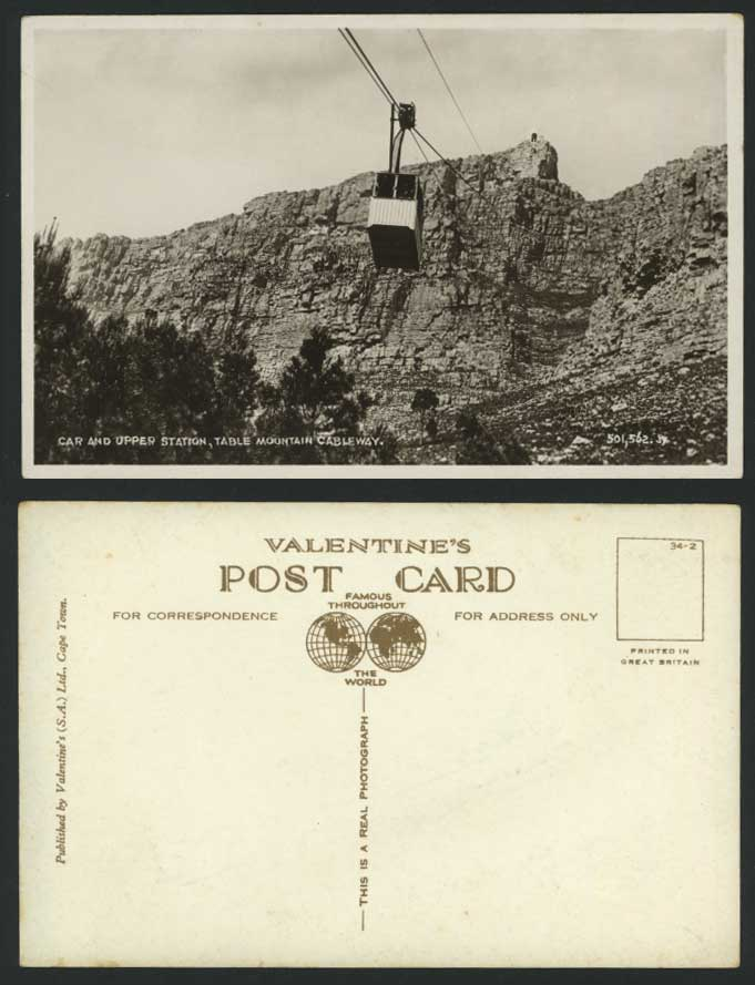 South Africa Table Mountain Cableway, Car Upper Station Old Postcard