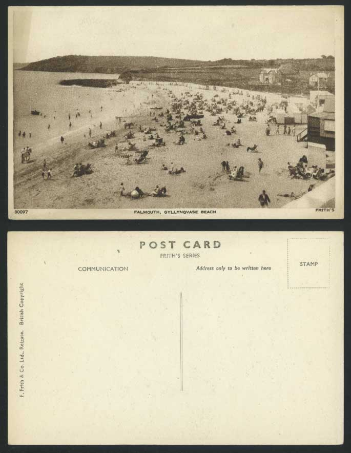 FALMOUTH Cornwall GYLLYNGVASE BEACH Old Postcard Sands Seaside Panorama, Frith's