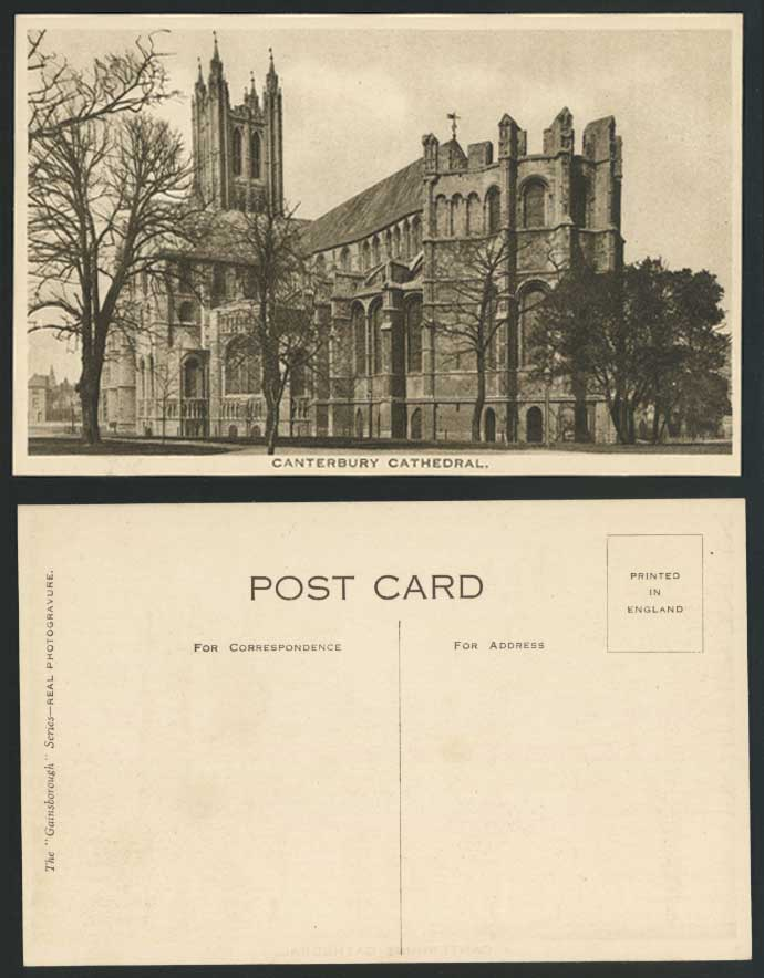 CANTERBURY CATHEDRAL Kent Old Postcard Trees - Gainsborough Series Photogravure