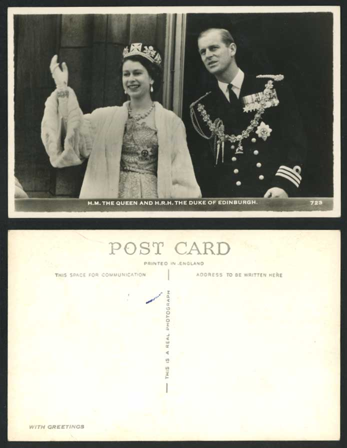 H.M. The Queen H.R.H. The Duke of Edinburgh Old Real Photo Postcard Elizabeth II