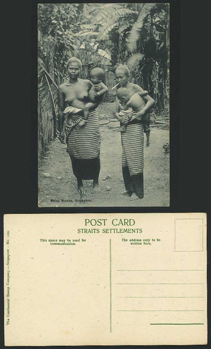 Singapore Old Postcard Bare Breast Malay Women with Babies Children Lady Smoking