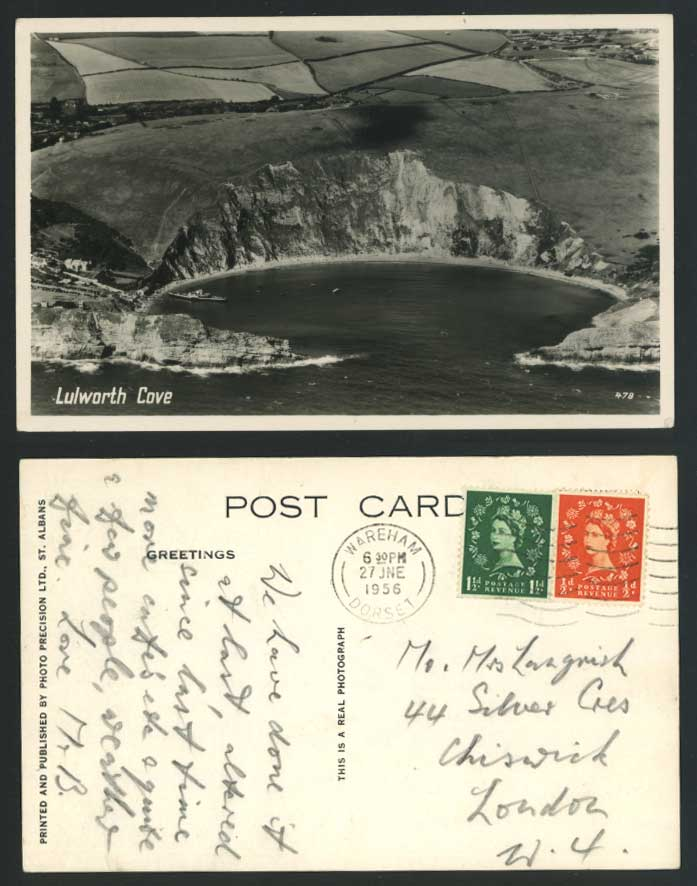 LULWORTH COVE nr Weymouth Dorset 1956 Old Real Photo Postcard Steamer Steam Ship