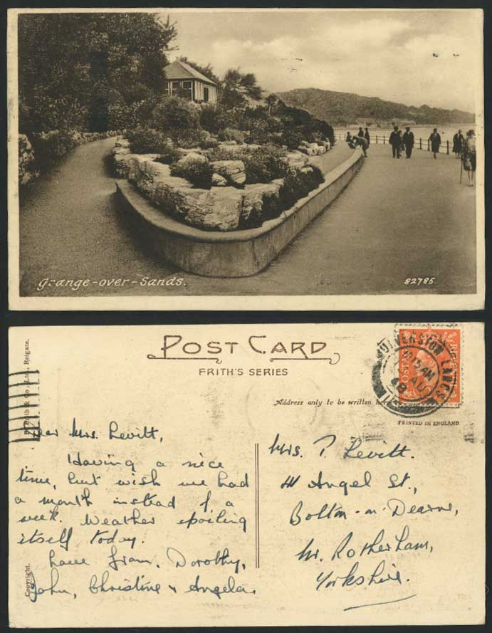 Grange-over-Sands Lancashire 1948 Old Postcard Rocks Seaside Promenade - Frith's