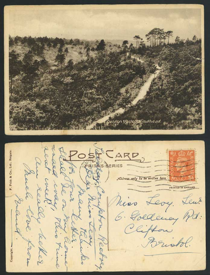 Hindhead - The Golden Valley - Panorama, Surrey 1949 Old Postcard Frith's Series