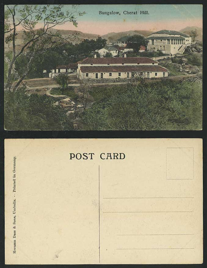 Pakistan BUNGALOW CHERAT HILL View British India Old Hand Tinted Colour Postcard