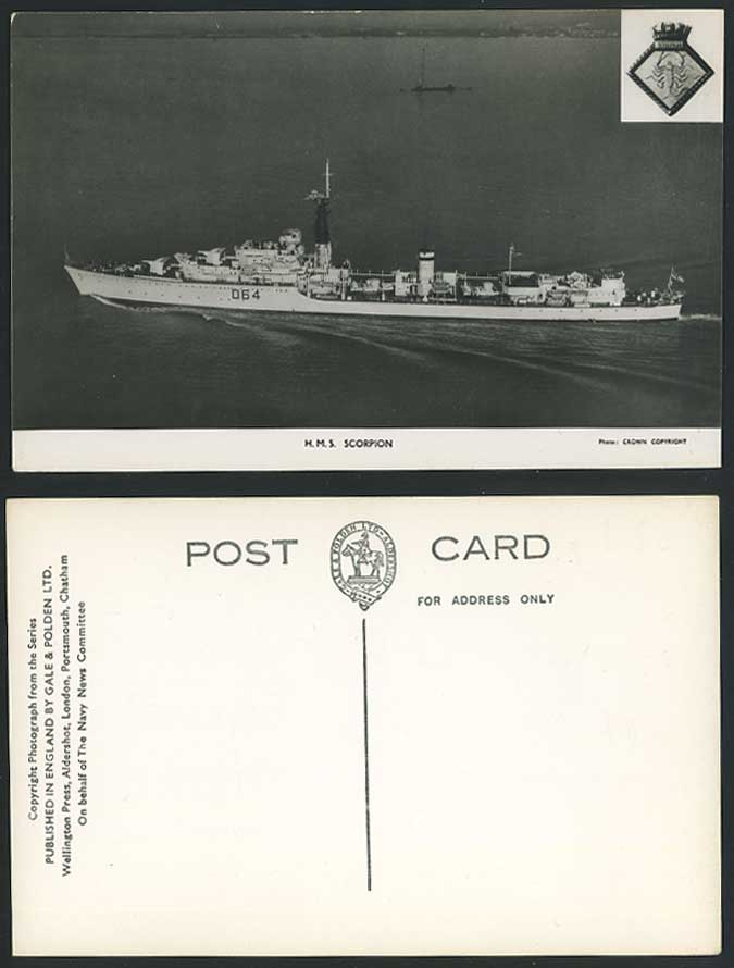 H.M.S. Scorpion D64, British Royal Navy Weapon-Class Destroyer Old R.P. Postcard