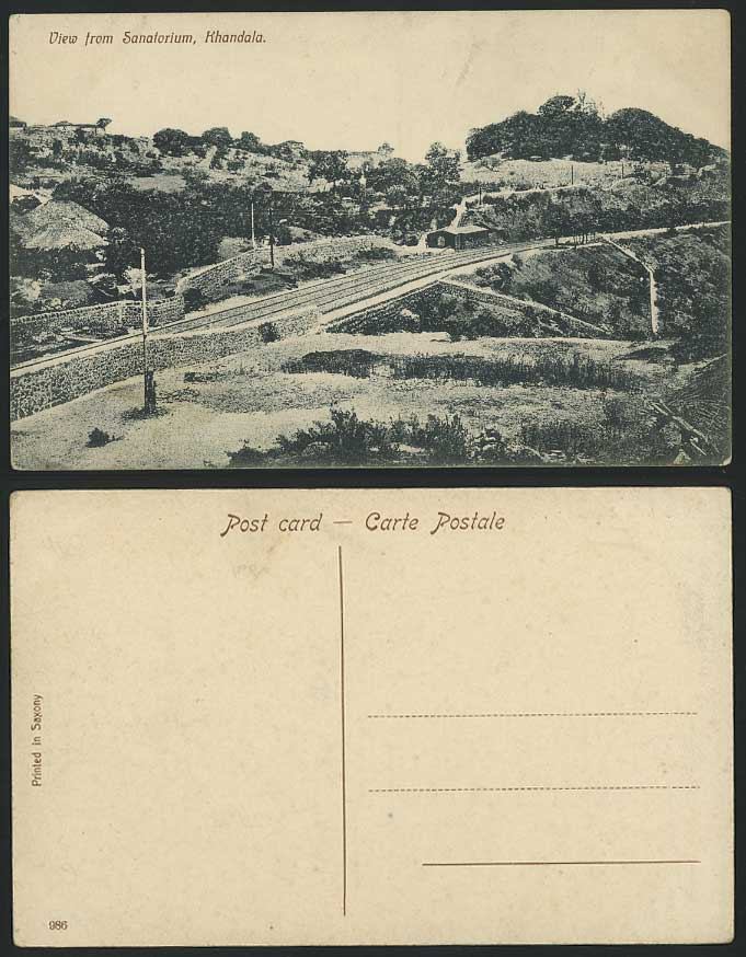 India Old Postcard Panorama View from Sanatorium Khandala Railroad Railway Hills