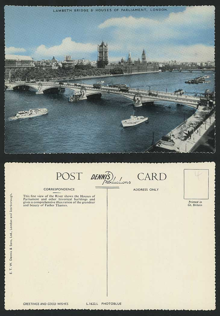 London Old Postcard Lambeth Bridge Houses Of Parliament