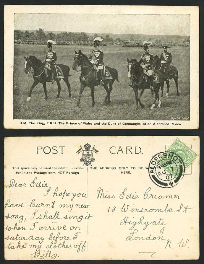 King Prince of Wales Duke of Connaught Aldershot Review 1907 Old Postcard Horses