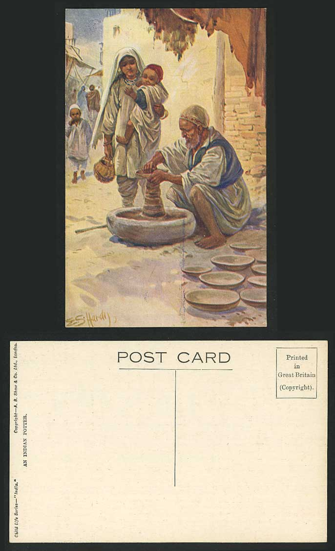 India Old Postcard Indian Potter making Clay Vessel Child Life Woman Little Boys