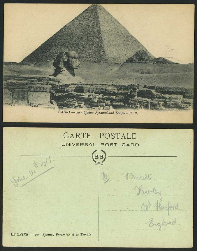 Egypt 1917 Old Postcard Cairo SPHINX PYRAMID and TEMPLE Sphynx Pyramide Le Caire