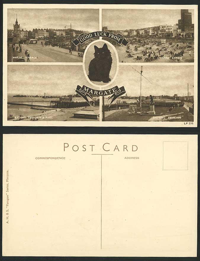 Margate old postcard black cat kitten marine terrace sands for 50 marine terrace