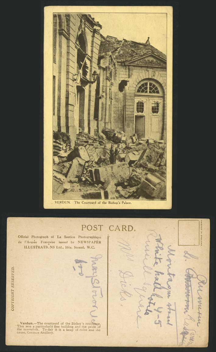 Verdun WW1 Ruins, Bishop's Palace Courtyard German Artillery Old Postcard France