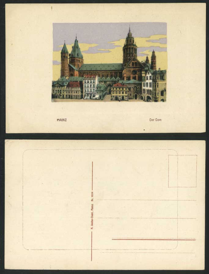 Germany Old Colour Postcard MAINZ, DER DOM, Dome Cathedral Church Embossed